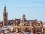 Sevilla, SPAIN - September 10, 2015:  Tower Giralda, Cathedral of Saint Mary of the See from Metropol Parasol high, Sevilla, Andalusia
